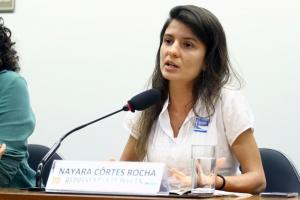 A nutricionista Nayara Côrtes representou o CFN na audiência pública sobre a importância do Consea. Foto: Vinicius Loures/Câmara dos Deputados